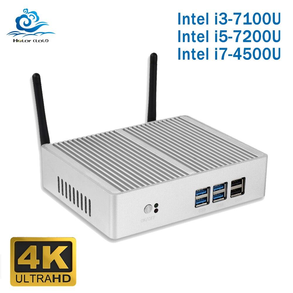 Barato Intel Core i5 7200U 4210Y i3 7100U i7 4500U sin ventilador Mini PC Windows 10 PC DDR3L de 2,40 GHz de 4K HTPC WiFi HDMI VGA USB