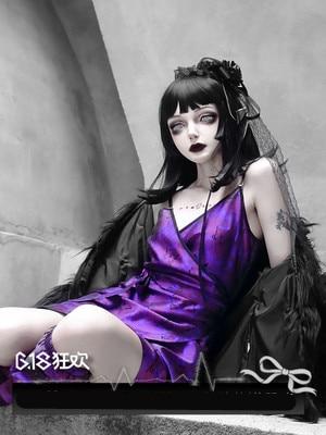 Gothic Lolita Kleid Cool Girl Lila Dunkle Magie Falbala Goth Spitze Punk Sexy V-ausschnitt Design Vintage Cartoon Cosplay Cos