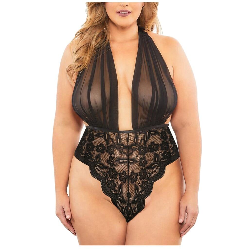 Lenceria Sexy erótica de talla grande para Mujer... picardias Sexy de encaje transparente con escote en V profundo cuerpo Sexy