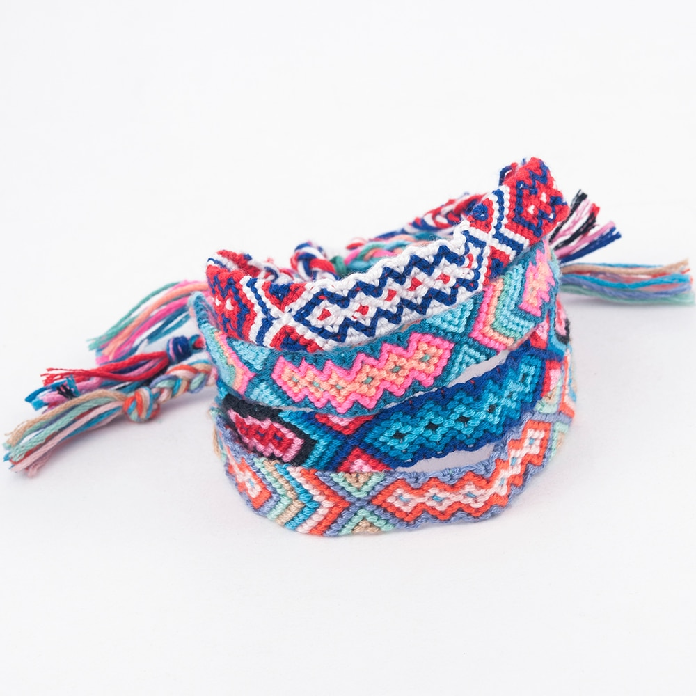 Nuevo Cordón de cuerda Multicolor étnico bohemio hecho a mano, cordón trenzado pulsera trenzada de la amistad, pulsera Con Ojo Turquesa