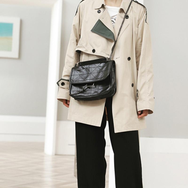New Rhombus Black Rock Soft Single Shoulder Oblique Span Chain Bag Luxury Handbags for Woman 2021 PU Leather Messenger Bag