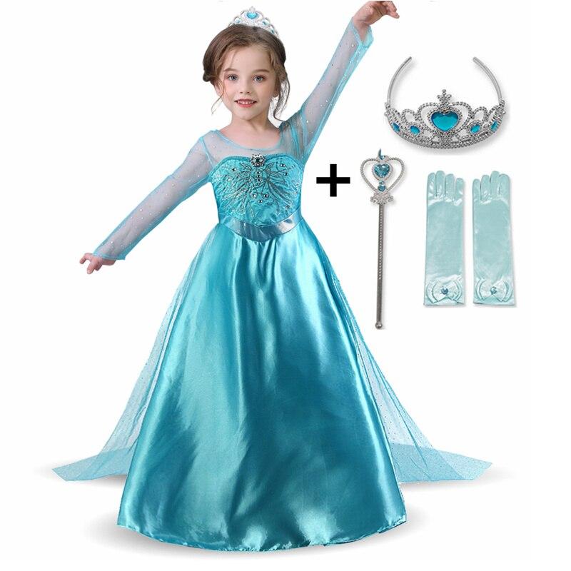 Nuevo Elsa vestido manga larga chica traje de la princesa de nieve fiesta de blanco vestido de Anna, ropa de niñas, vestidos Infantil disfraz Princesa para niña