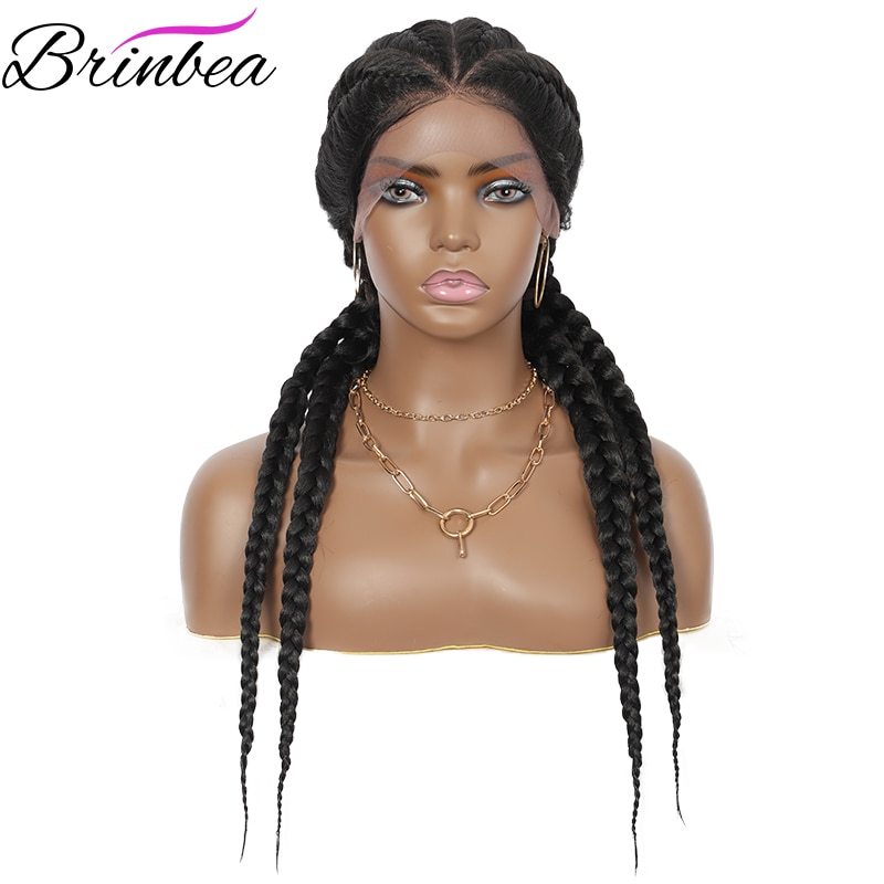 Brinbea 26 Inches Synthetic Hand Braided Lace Front Cornrow Wigs 4 Ponytails Soft Lace Frontal Twist Braided Wigs with Baby Hair