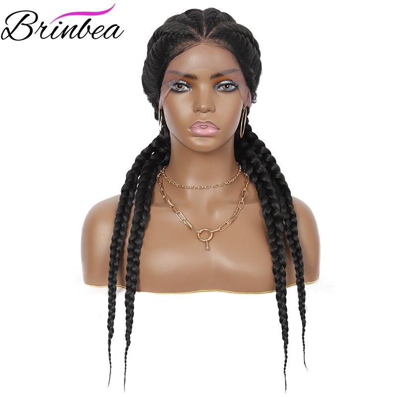 Brinbea-شعر مستعار صناعي مضفر يدويًا ، 26 بوصة ، 4 ذيل حصان ، شعر مستعار ناعم مضفر مع شعر الطفل