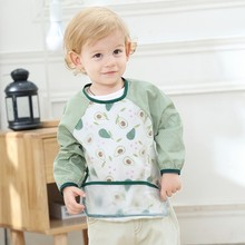 Baby Aprons Feeding Bibs Boys Girls Kids Child Kitchen Apron Burp Feed with Pocket Waterproof Home Cleaning Long Sleeve Cartoons