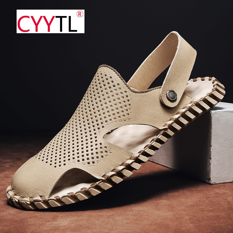 CYYTL Breathable Summer Closed Toe Sandals Slippers 2 Wearing Outdoor Beach Adjustable Strap Leather Shoes for Casual Fisherman