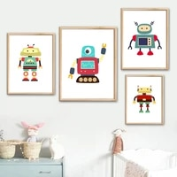 love ai robot boom future awake wall art canvas painting nordic posters and prints wall pictures kids bany boy kawaii room decor