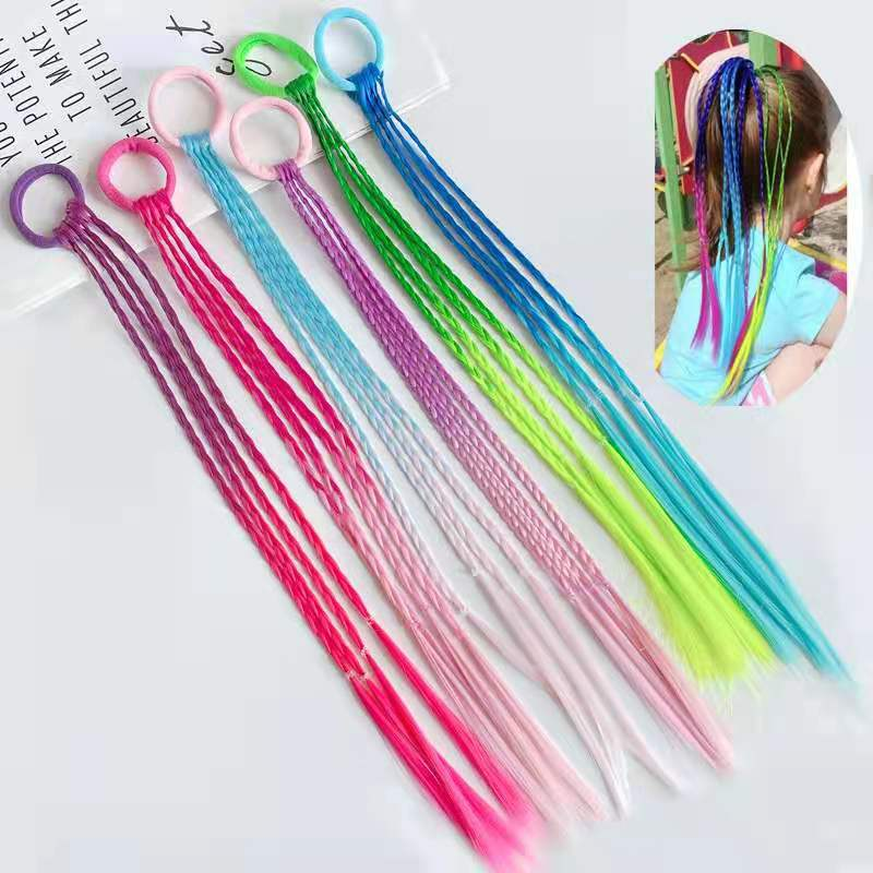 24PCS/Lot Girls dirty braids ponytail colored hand-woven  gradient colored ponytail braids Girl hair accessories wholesale