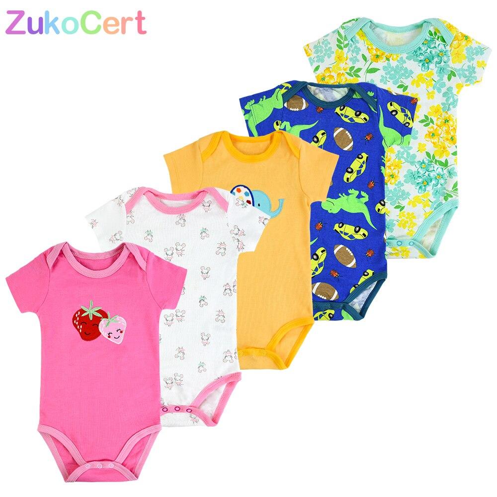 3/4/5 Uds. Body de algodón para niños y niñas, Mono para recién nacidos, ropa de dormir de manga corta, ropa de dormir para niños, monos