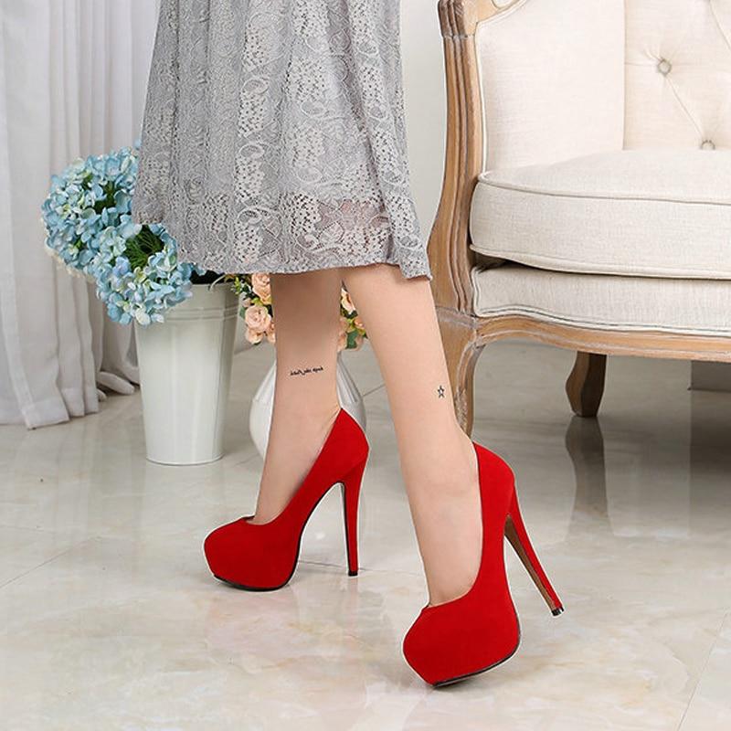 35-46 חדש סקסי דק עקבים סנדלי נשים משאבות OL שחור/אדום פלטפורמת משאבות חתונה מסיבת נעלי משאבות עבור נשים 14cm B11-45