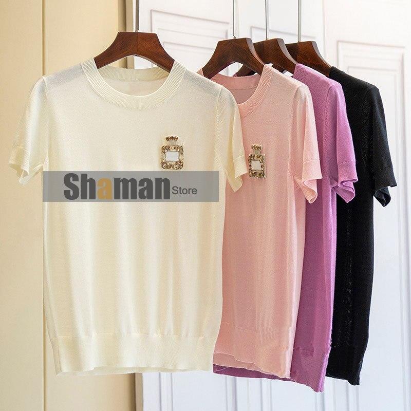 Diseño de París, verano, cuello redondo, manga corta, fina, fibra viscosa, mezcla de lana, Perfume, diseño de botella, camisa tejida, camiseta, topS para mujer