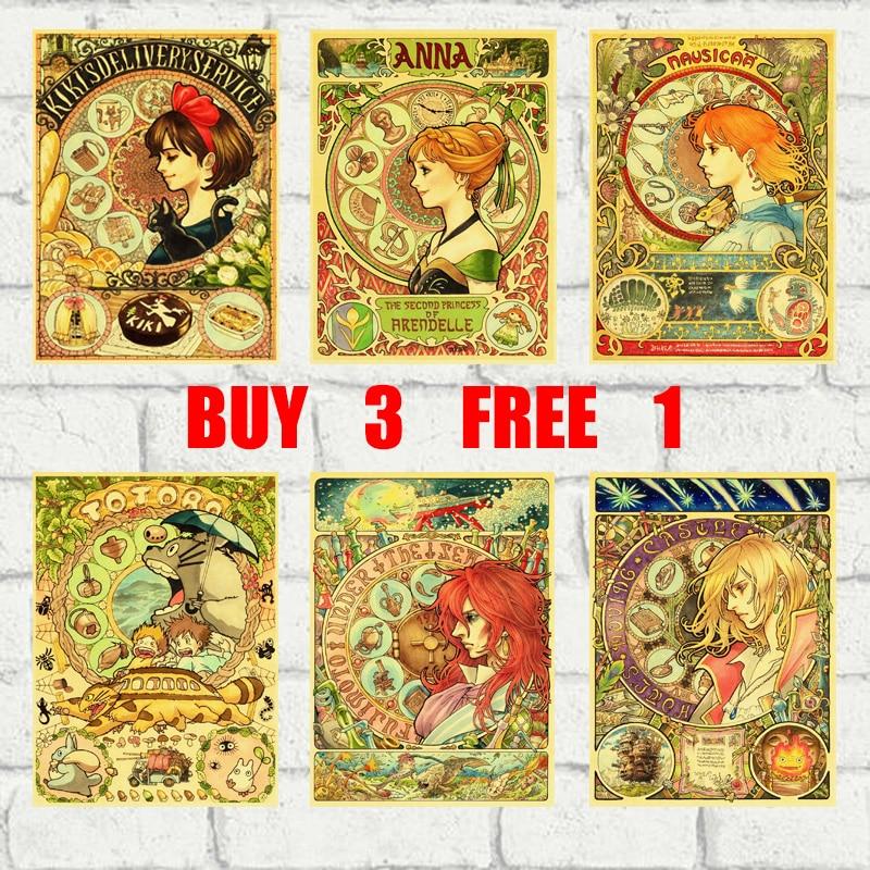 Japanese Animation Hayao Miyazaki Insanity Retro Kraft Paper Poster Bar Office Coffee Shop Home Art Wall Stickers