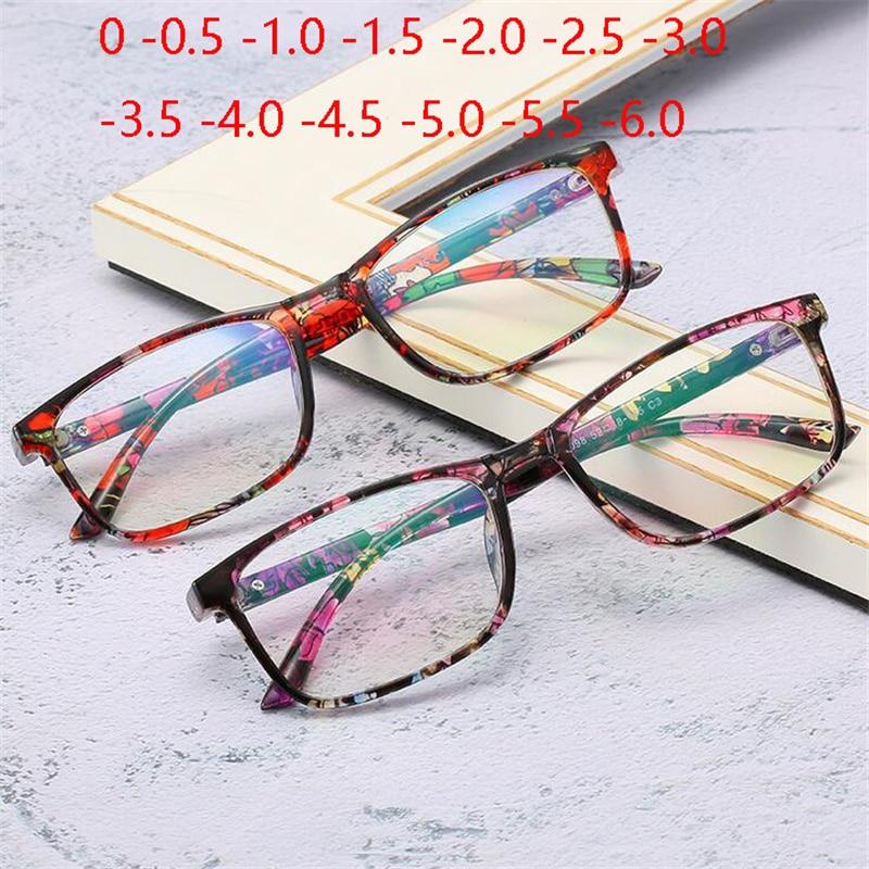 Quadro completo quadrado terminou miopia óculos unisex ultraleve claro espelho óculos míopes prescrição 0-0.5-1.0 para-6.0