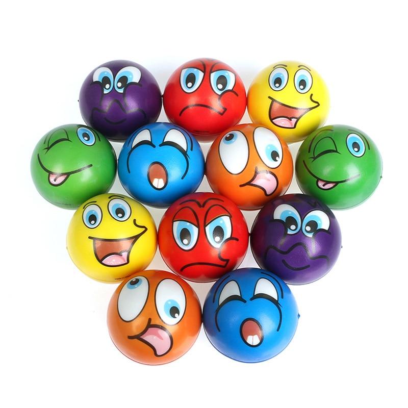 6 Pcs 6.3 Cm Stress Ballen Grimas Smiley Lachen Gezicht Soft Foam Pu Squeeze Squishy Ballen Speelgoed Voor Kids Kinderen volwassenen
