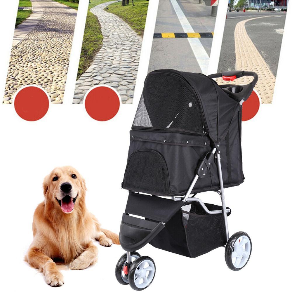 Yonntech-cochecito de viaje para perros y gatos, carrito giratorio de 3 ruedas