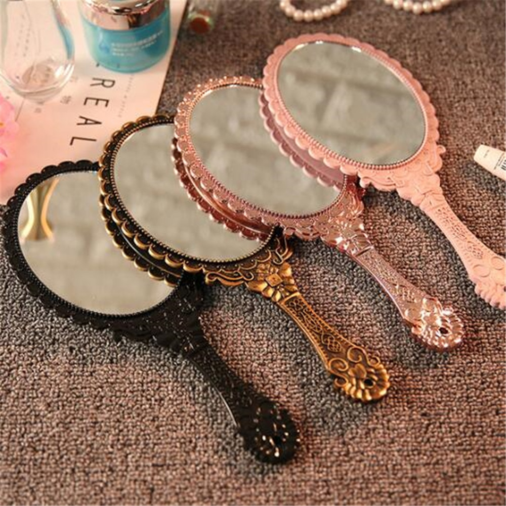 Vintage Carved Handheld Vanity Mirror Makeup Mirror Hand Mirror Handle SPA Salon Makeup Vanity Cosme