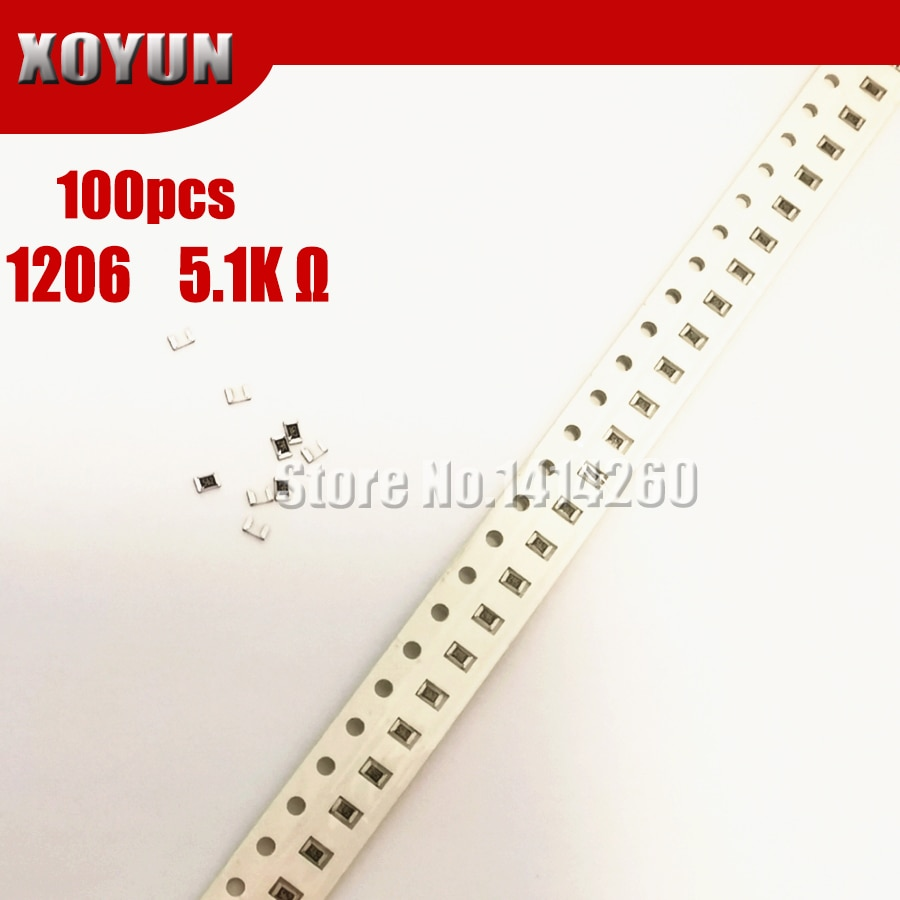 100 pçs 1206 smd resistor 1% 5.1 k ohm chip resistor 0.25 w 1/4 w 5k1 512