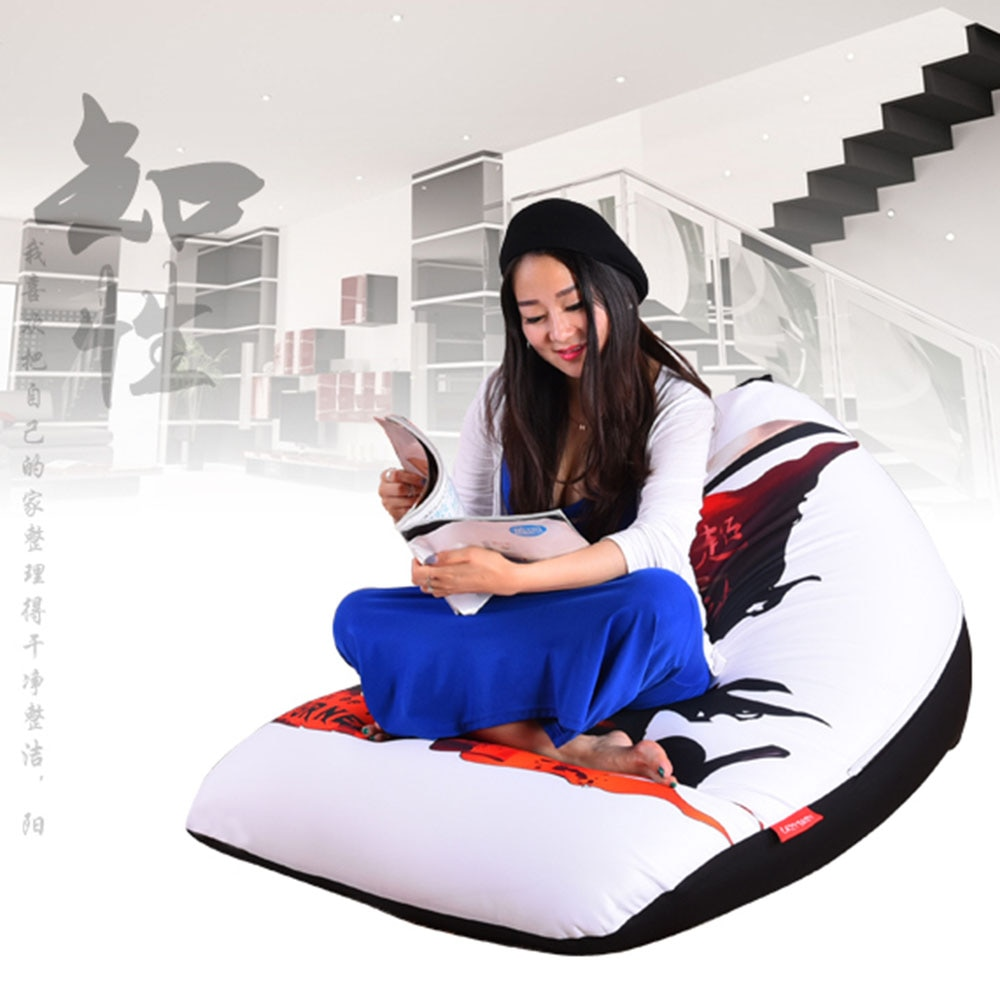 LEVMOON Beanbag Sofa Chair Seat Zac Comfort Bean Bag Bed Cover Without Filler Cotton Indoor Beanbag Lounge Chair Printing C