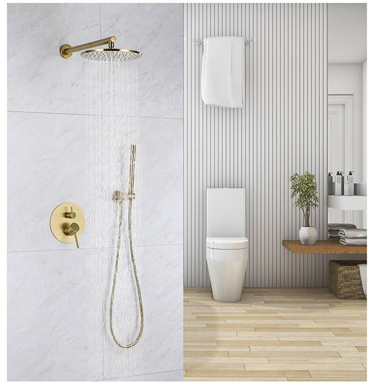 مجموعة دش الحمام النحاسية الصلبة ، صنبور دش مثبت على الحائط ، خلاط مياه
