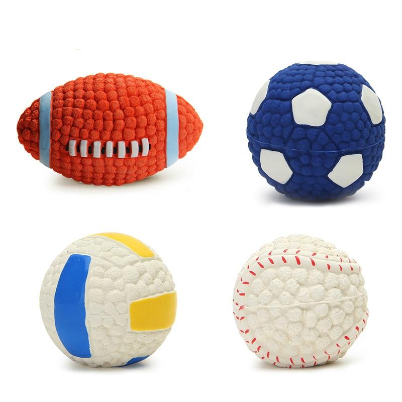 Dog Toys Play Ball Launcher Inflatable Volleyball Football Tennis Ball Thrower Chucker Squeak Ball Training Pet Dog Chew Toys