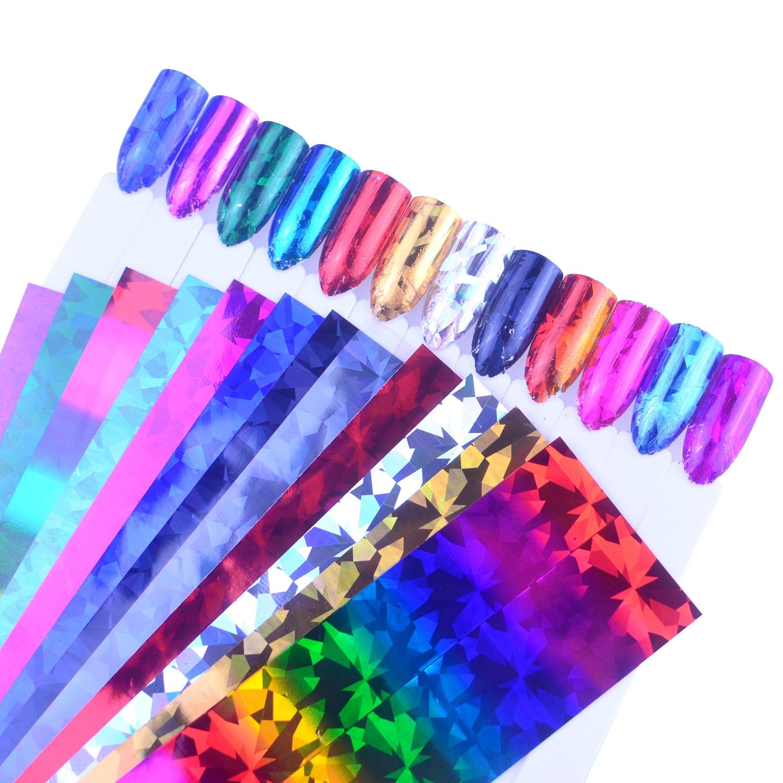 12pcs Charm Nail Foils Polish Stickers Laser Color Starry Paper Transfer Foil Wraps Adhesive Decals Nail Art Decorations недорого