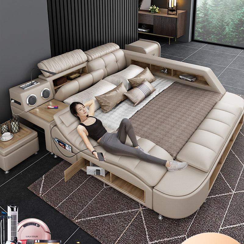 Post moderno cama de couro genuíno real com função de massagem branco mais recente rei de couro multi função cama projetos