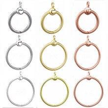 Oro rosa y plata Pequeño medio y grande O COLLAR COLGANTE ajuste pulsera 925 plata esterlina cuenta encanto DIY joyería