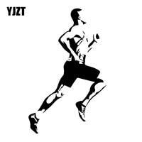 YJZT 10.9CM*18CM Runner Athlete Athletics Healthy Motivation Car Accessories Decals Stickers Black/Silver C31-0112
