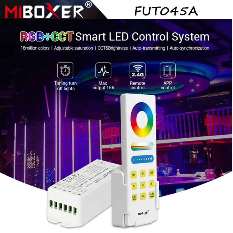 Miboxer New FUT045A RGB+CCT Smart LED Control System DC12-24V 2.4G Wireless Full Touch Remote 15A LED Controller Dimmer
