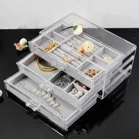 earrings earrings jewelry storage box necklace acrylic transparent jewelry box small jewelry drawer storage box organizer