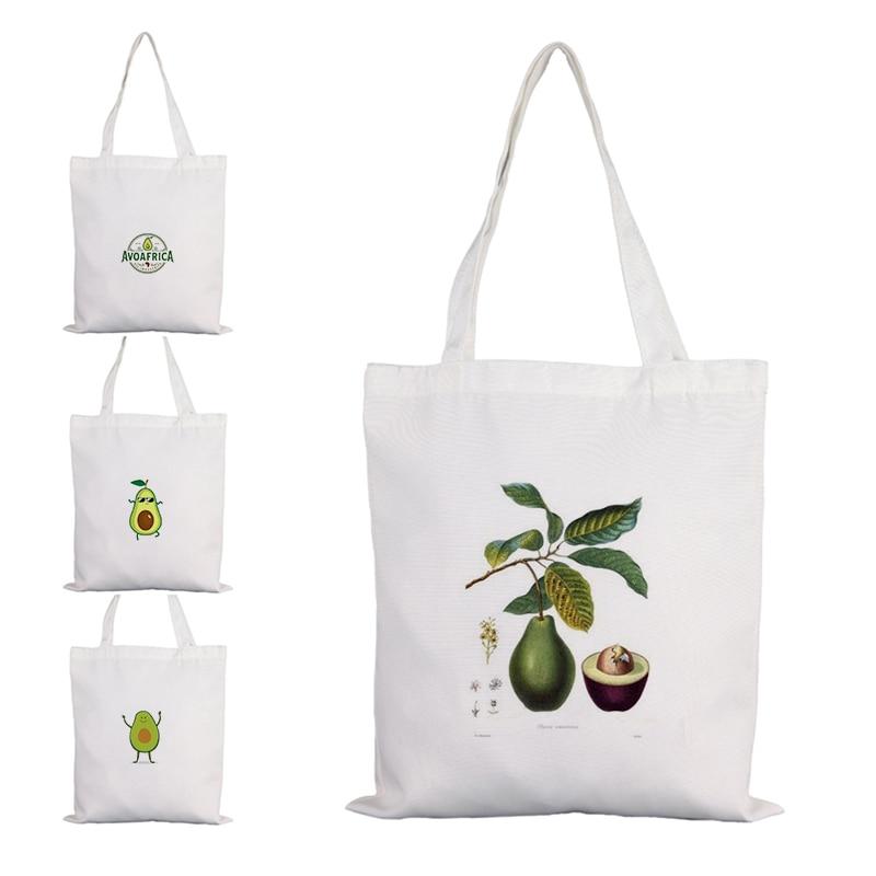 Холщовые сумки с принтом фруктов, авокадо, женская сумка для покупок, тканевые дизайнерские сумки, женские настраиваемые тканевые большие с...