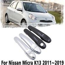 Czarne włókno węglowe uchwyt lub Chrome boczna pokrywa zestaw wykończeniowy dla Nissan Micra K13 Renault Puls 2011 ~ 2019 akcesoria samochodowe 2012