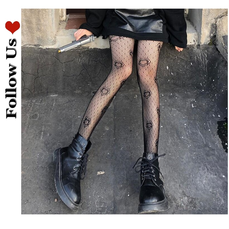 Gothic Tights Pantyhose Japanese Black Retro Rose Flower Vine Fishnet Lace Trousers Little Love Bottoming G Stockings Women