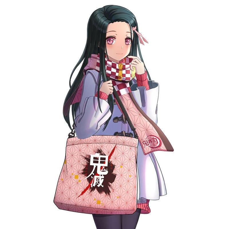 Nezuko dos Desenhos Bolsa de Lona Grande-capacidade de um Bolsala de Compras Anime Demônio Slayer Tanjirou Animados Estudante Ombro Diagonal Bolsa Meninas