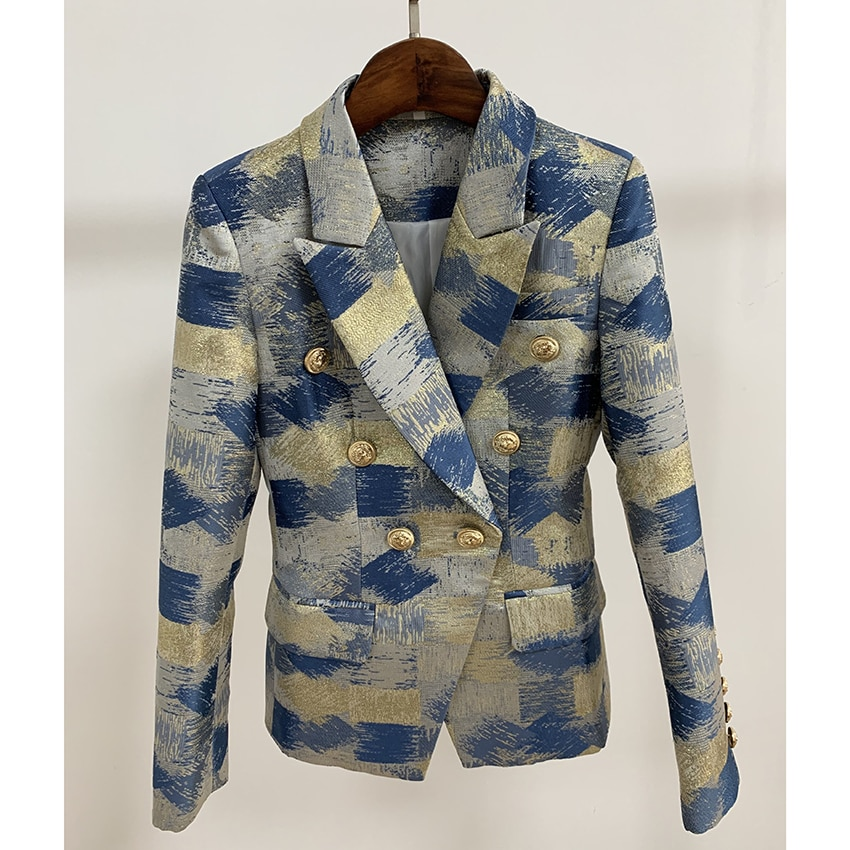 New Fashion 2021 Designer Blazer Jacket Women's Lion Metal Buttons Double Breasted Colors Painting Jacquard Blazer