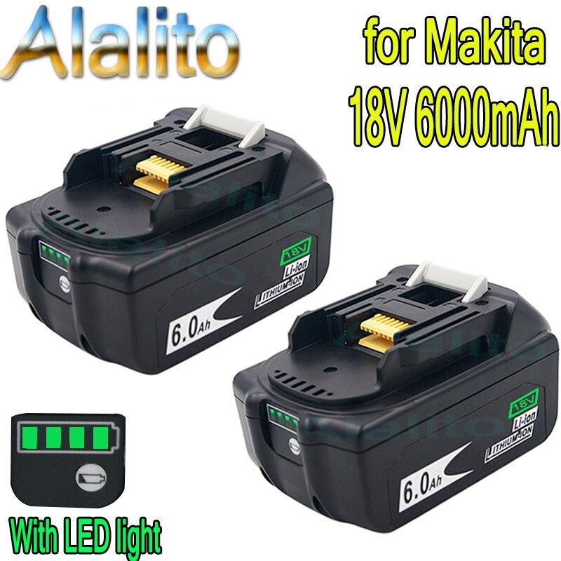 Último actualizado BL1860 batería recargable, 18 V 6000mAh de iones de litio para Makita batería de 18 v BL1840 BL1850 BL1830 BL1860B lijar 400