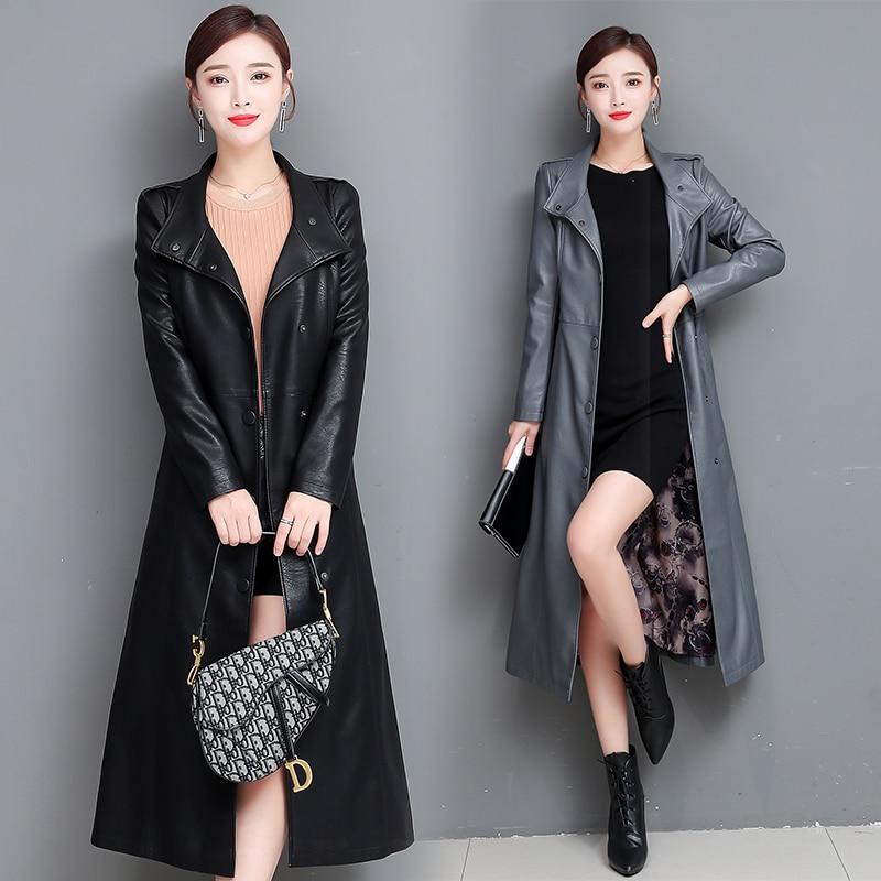 Autumn X-long Leather Jacket Women Winter Leather Trench Coat With Belt Plus Size 5XL Fashion Faux Leather Jacket Women Overcoat enlarge