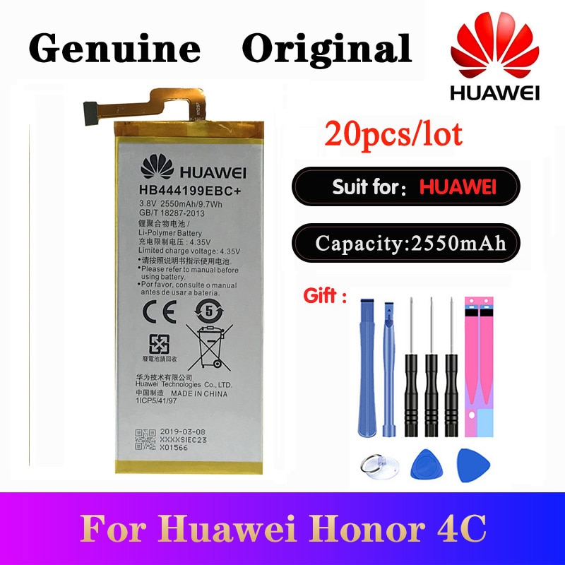 20pcs/lot Battery HB444199EBC+ For Huawei Honor 4C C8818 CHM-CL00 CHM-TL00H /G Play Mini Original Batteries 2550mAh