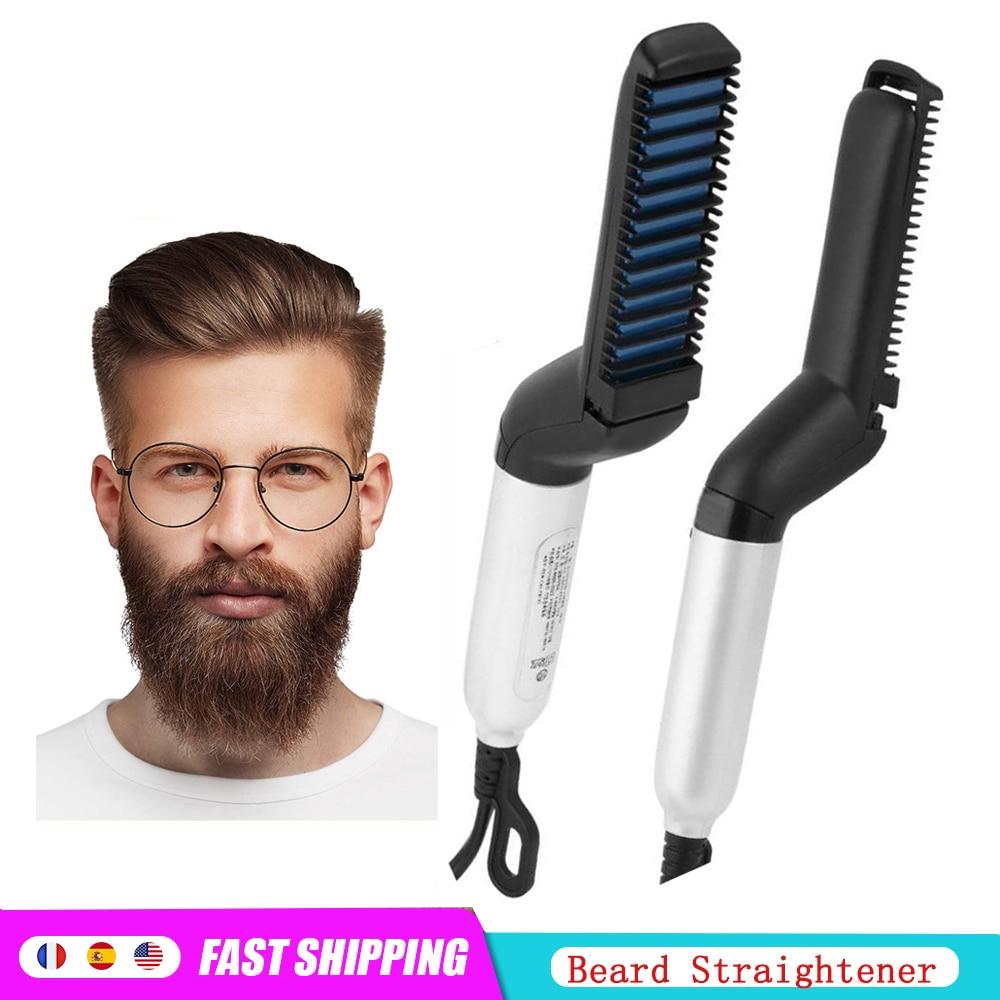 Beard Straightener Quick Men Hair Beard Styler Comb Multifunctional Hair Curling Curler Show Cap Hai