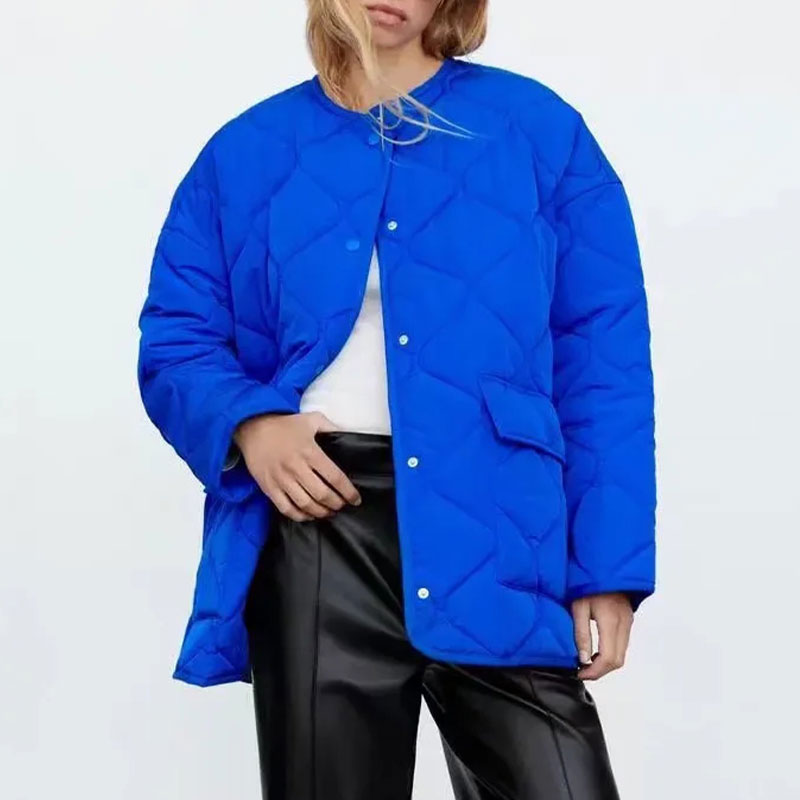 Za Women Parkas 2021 موضة الأزرق Argyle رقيقة الخريف سترة معطف المعتاد جيوب طويلة الأكمام الإناث ملابس خارجية