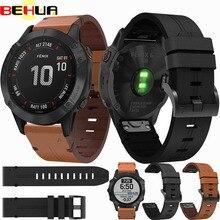 Bracelet de montre en cuir 26mm Bracelet à dégagement rapide pour Garmin Fenix 5X/5X Plus/6X/6X Pro Bracelet Bracelet facile à ajuster Bracelet de remplacement