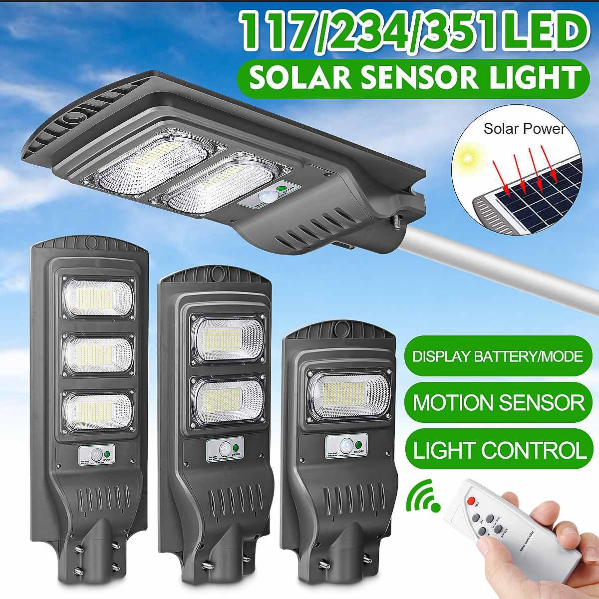 Smuxi 120w/240w/360w conduziu a luz de rua solar à prova dwaterproof água ip65 pir sensor movimento ~ controle remoto ao ar livre iluminação lâmpada segurança