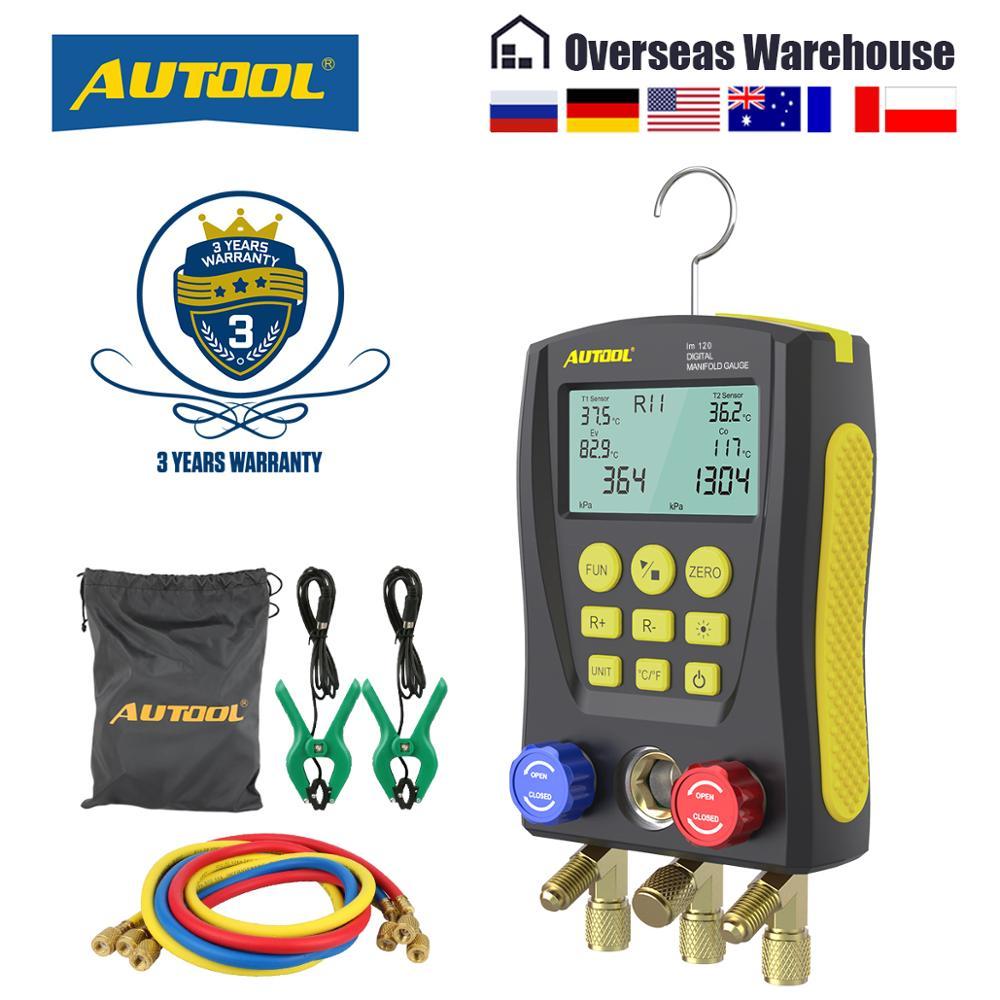 AUTOOL LM120 + الرقمية المنوع متر تكييف الهواء مقياس التخلخل للتبريد HVAC فراغ ضغط جهاز قياس درجة الحرارة