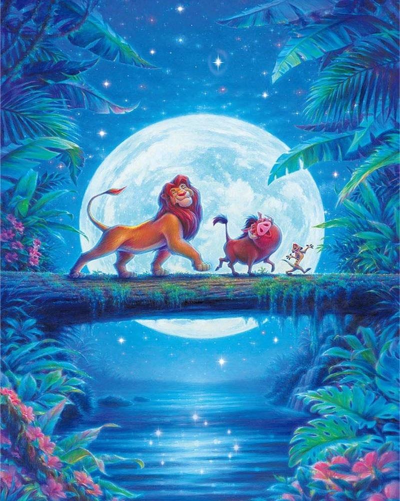 JMINE Div 5D Simba del Rey León puente de La Luna Disney Full Diamond pintura punto de cruz kits de Arte de dibujos animados pintura 3D de diamantes