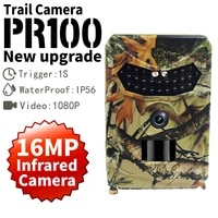 hunting camera ip54 waterproof trail camera 1080p 16mp video recorder infrared led night view cam 2021 new pr100 pro