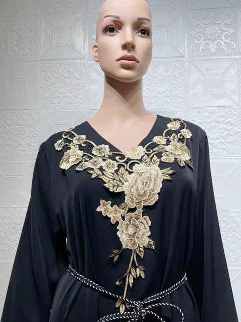 Muslim Long Kaftan Dress Women Full Sleeve Loose Gowns Robes Fashion Floral Embroidery Elegant Dubai Islam Ramadan Muslim Dress 6