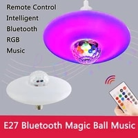 30w e27 ufo bluetooth compatible crystal ball led bulb remote control rgb light music bulb speaker multi color dimmable bulbs
