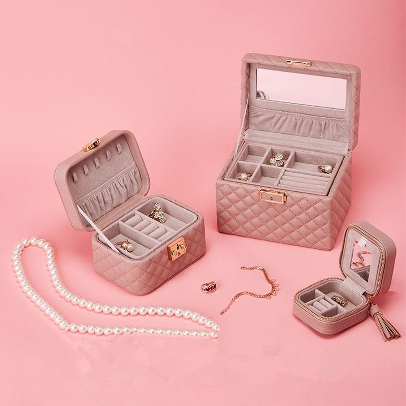 Caja de almacenamiento, caja de almacenamiento de anillo de joyería, material de cuero, caja de regalo de boda regalo exquisito, herramienta de almacenamiento de colección familiar