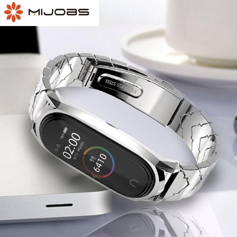 Mijobs Mi band 4 Strap Metal Stainless Steel Wristbands For XiaoMi Mi Band 3 Compatible Bracelet MiBand 4 3 Mi4 Correa Pulseira