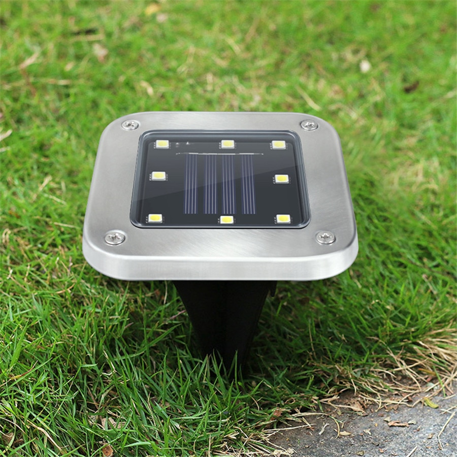 Iluminación de energía Solar para exteriores, lámpara enterrada de 8 LED, lámparas de Camino impermeables de jardín y césped Plaza de Navidad